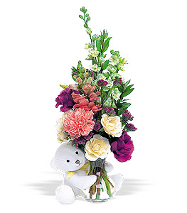 Arrangement with a teddy bear attached 40.00