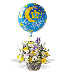 Baby Boy Arrangement With Mylar Balloon