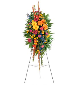 Sympathy.............Standing Spray in mixed fall flowers, 125.00