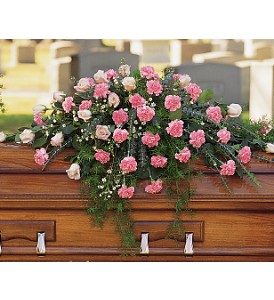Sympathy...Mixed Pink Casket Spray-$250.00