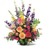 Sympathy...Mixed Spring Color Sympathy Arrangement, 85.00