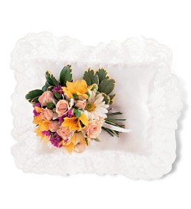 Sympathy...Mixed flower satin pillow-40.00