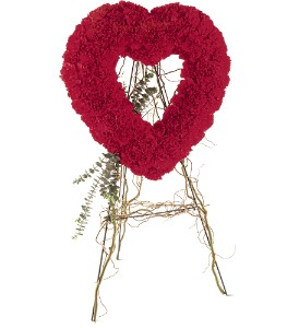 Sympathy...Red Carnation Open Heart-$200.00