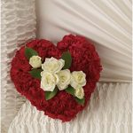Sympathy...Red and White Casket Heart,50.00
