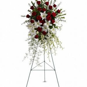 Sympathy...Red and White Elegant Standing Spray-250.00