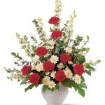Sympathy...Red and White Sympathy Arrangement, 75.00