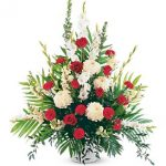 Sympathy...Red and White Sympathy Arrangement,150.00